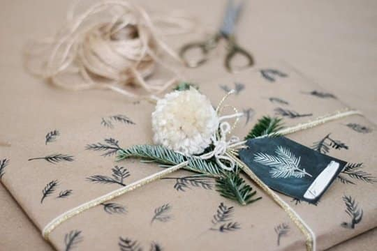 Brown Paper with stamps as gift wrapping paper